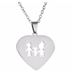 Halsband med berlock hjärta med familj smycke 1 dotter silver