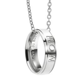 Halsband med berlock ring med texten MOM smycke present silver