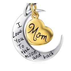 Halsband med hjärta och måne, mom,  silver/guld färgat gold / silver