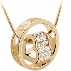 Halsband med ring med hjärta inuti, guldfärgad Guld