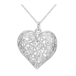 Halsband, silverfärgat hjärta med kedja gåva julklapp present Silver