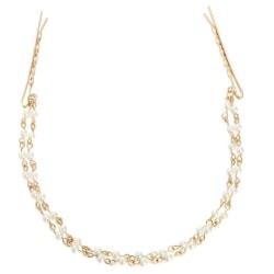 Hårband / diadem / tiara pärlkedja med 2 st hårnålar guldfärgat Guld och pärlor