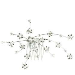 Hårdekoration, silverfärgad blomma med kam till bröllop fest Silver