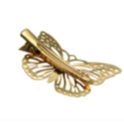 Hårklämma, guldfärgad fjäril guld