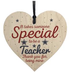 hjärta, texten lärare / teacher, hänge, skylt avslutningspresent trä , blått , rött