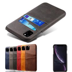 Iphone 11 Pro skydd skal fodral skinn läder kort visa amex - Mörkbrun iPhone 11 Pro