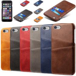 Iphone 6/6s skydd skal fodral kredit kort visa amex mastercard - Mörkbrun iPhone 6/6s
