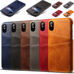 Iphone X/XS skydd skal fodral skinn läder kort visa mastercard - Mörkbrun iPhone x/xs