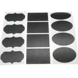 Klister etiketter i 3 olika mönster o 1 tillhörande vit penna Svart