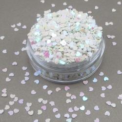 Konfetti , hjärtan 20 gr skimmrande vit, rosa silver dekoration vit rosa silver