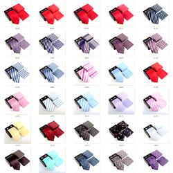 Paket med slips, manchetknappar coh brösnäsduk Mörkblå , ljusblå , vit