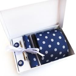 Paket med slips, ,manchettknappar, slipsnål och bröstnäsduk Blå och vit