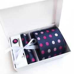 Paket med slips, ,manchettknappar, slipsnål och bröstnäsduk Blå , rosa , cerise