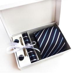 Paket med slips, ,manchettknappar, slipsnål och bröstnäsduk Mörkblå , ljusblå , vit