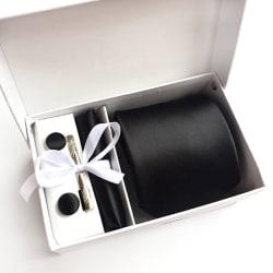 Paket med slips, ,manchettknappar, slipsnål och bröstnäsduk Svart