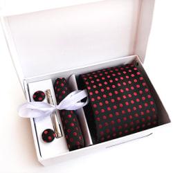Paket med slips, ,manchettknappar, slipsnål och bröstnäsduk Svart , röd