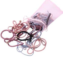 Påse med hårsnoddar / armband i olika modeller och färger flerfärgad