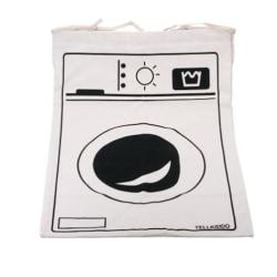 påse med tryck, tvättmaskin beige/vit 47*72cm