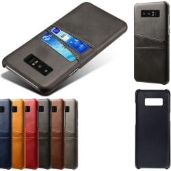 Samsung Note8 skal fodral skydd skinn kort visa mastercard - Brun Note8