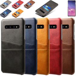 Samsung S10 skydd skal fodral skinn kort visa amex mastercard - Grå Samsung Galaxy S10