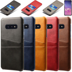 Samsung S10E skydd skal fodral skinn kort visa amex mastercard - Mörkbrun Samsung Galaxy S10E
