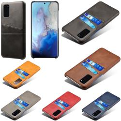 Samsung S20 skydd skal fodral skinn kort visa amex mastercard - Mörkbrun S20