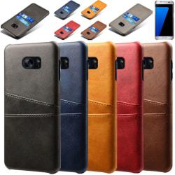 Samsung S7 edge skydd skal fodral skinn åt kort visa mastercard: Röd Samsung Galaxy S7 Edge