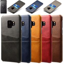 Samsung S9 skydd skal fodral skinn åt kort visa amex mastercard Mörkbrun Samsung Galaxy S9