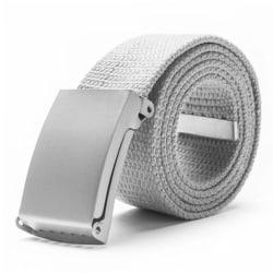 Skärp i ljusgrått canvas tyg bälte unisex justerbar längd Ljusgrå