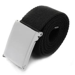 Skärp i svart canvas tyg bälte unisex justerbar längd Svart
