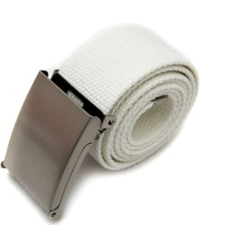 Skärp i vitt canvas tyg bälte unisex justerbar längd Vit