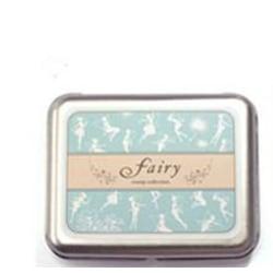 Stämplar i en plåtbox, Fairy, älva älvor decoration pyssel scrap
