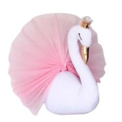 Väggdekoration svan uppstoppad leksak barn inredning vägg vit och rosa