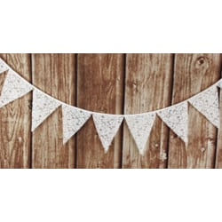 Vimpel med spets vitt bröllop fest kalas inreda  vit 16 cm