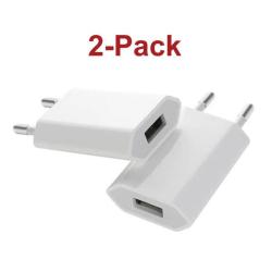2 Pack Laddare/Väggladdare till iPhone, Samsung m.fl. 1A Vit White iPhone/Galaxy