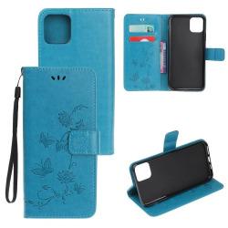 Läderfodral Mönstrat Fjärilar iPhone 12/12 Pro Blå Blue iPhone 12/12 Pro