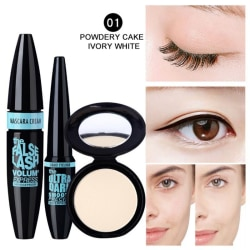 3pcs Eyes Makeup Set Eyebrow Mascara Eyeliner Pressed Powder 1