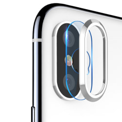 Transparent Tempered Glass+Metal Rear Lens Ring iPhone