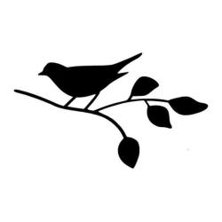 Vägg/Kakeldekor - Fågel på kvist svart