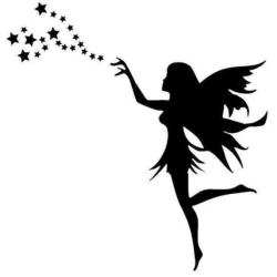 Väggdekor - Ängel med stjärnor svart