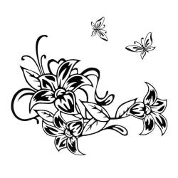 Väggdekor - Fina liljor och fjärilar svart