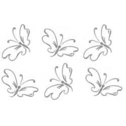 Väggdekor - Jätte fina silver glitter vinyl - 6st Fjärilar