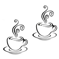 Väggdekor -  Kaffekoppar svart
