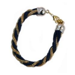 Armband Braided Gold Black Transparent
