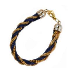 Armband Braided Gold Blue Transparent
