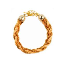 Armband Braided Gold Pink Transparent
