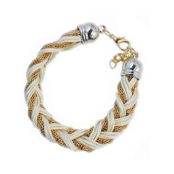 Armband Braided Gold White Transparent