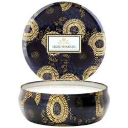 Voluspa 3-Wick Candle Decorative Tin Moso Bamboo 340g Blå