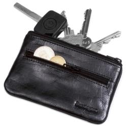 Barrington litet svart nyckelfodral i äkta skinn, fack för mynt