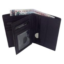 Svart plånbok i äkta skinn, 24 st fack